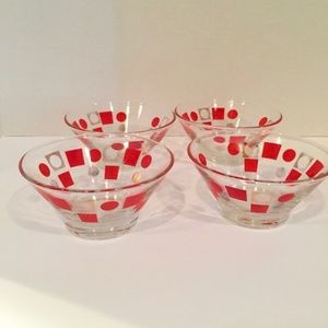 Other - Retro Glass Bowls with Geometric Designs Set of 4
